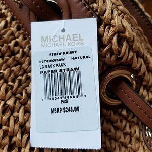 f65f6d8fe342 Michael Kors Bags - Michael Kors Krissy Straw Large Backpack NWT